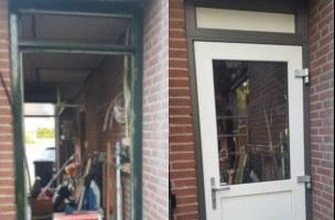 Nieuwe kunststof deurkozijn met kunststof achterdeur